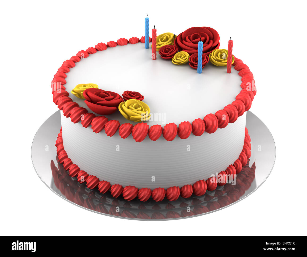 Phenomenal Round Birthday Cake With Candles Isolated On White Stock Photo Funny Birthday Cards Online Barepcheapnameinfo