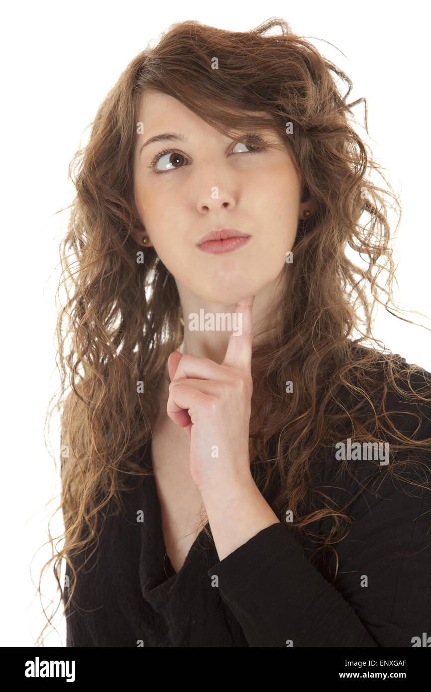 Junge Frau denkt nach Stock Photo