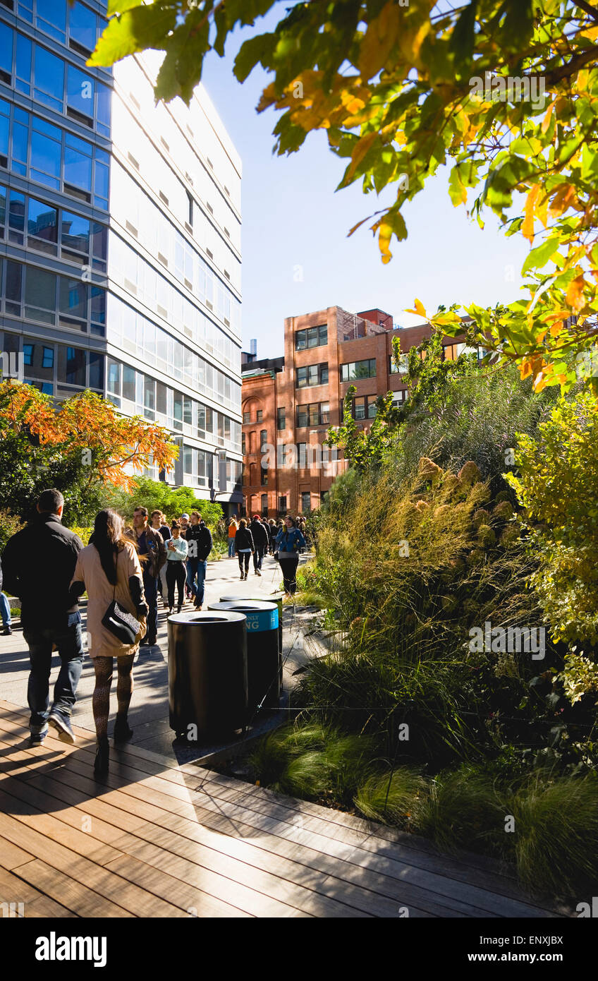 USA, New York, Manhattan, people walking in autumn on the High Line linear park on an elevated disused railroad - Stock Image