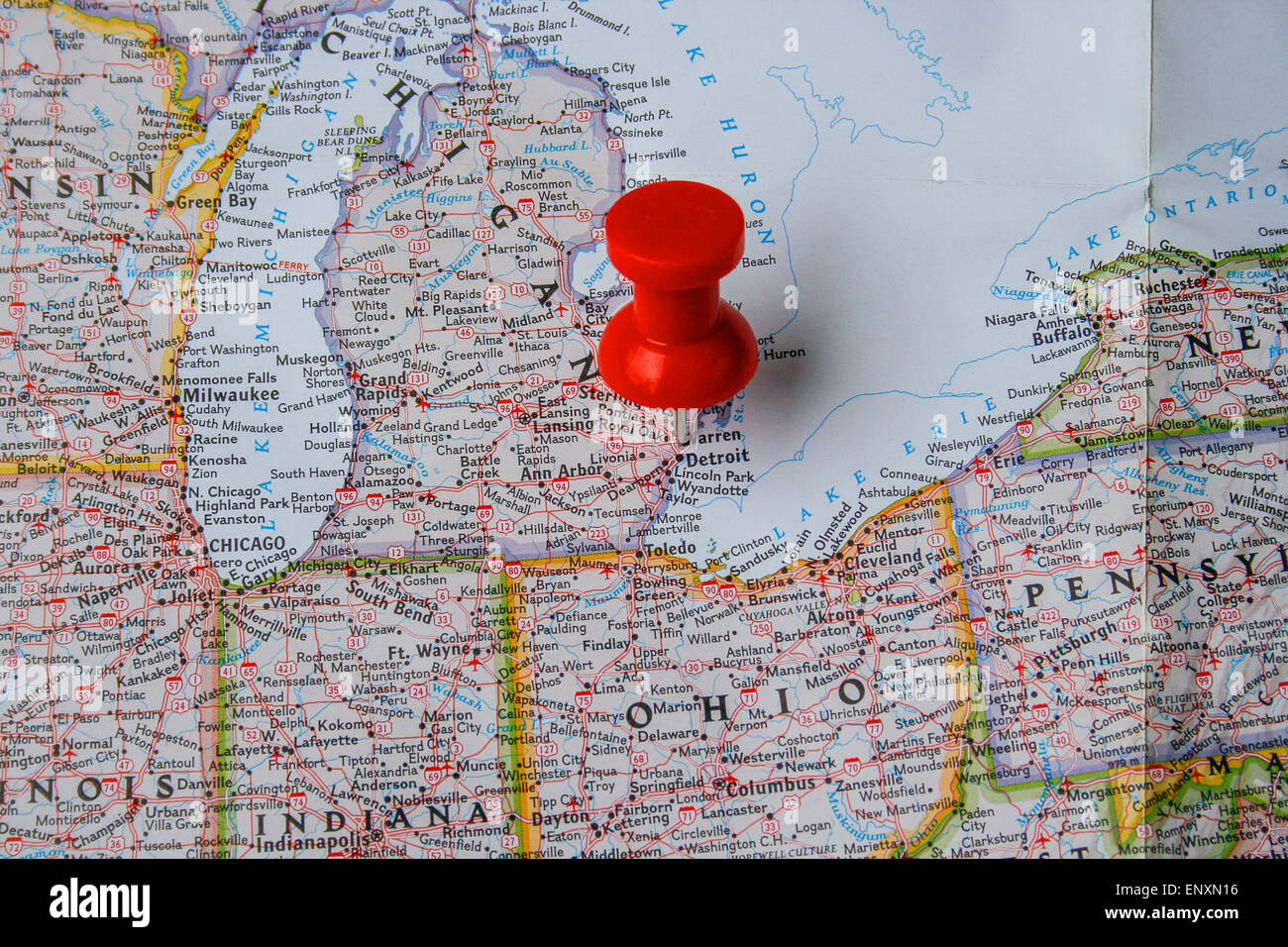 Red Pin On Map Of Usa Pointing At Detroit Michigan Stock Photo