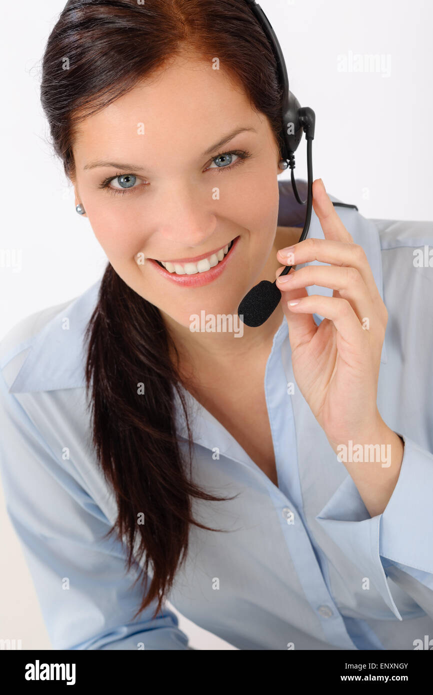 Customer service woman call operator phone headset Stock Photo