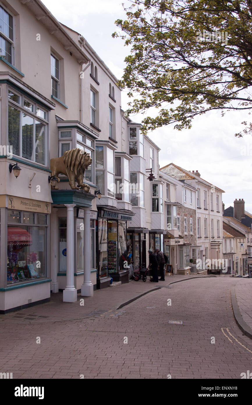 View along Fore Street, Seaton, Devon - Stock Image