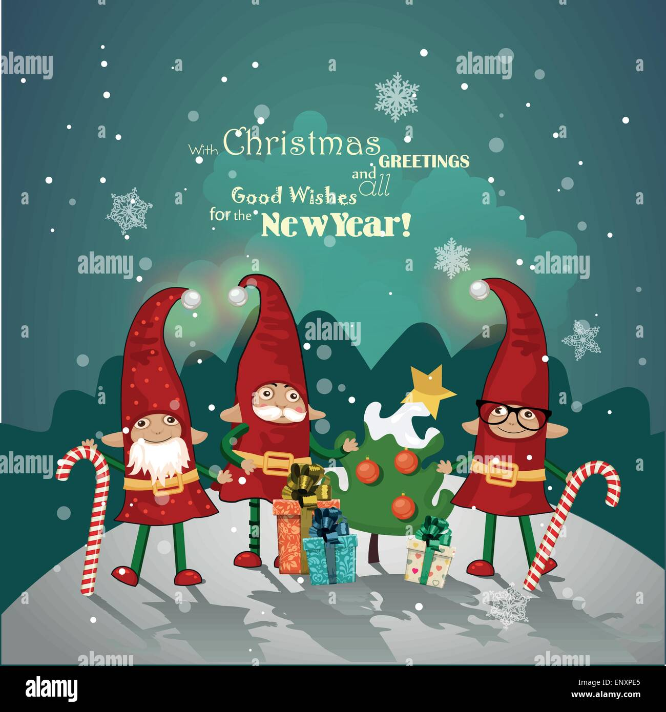 Vintage Christmas Poster Design With Christmas Elves Vector Stock