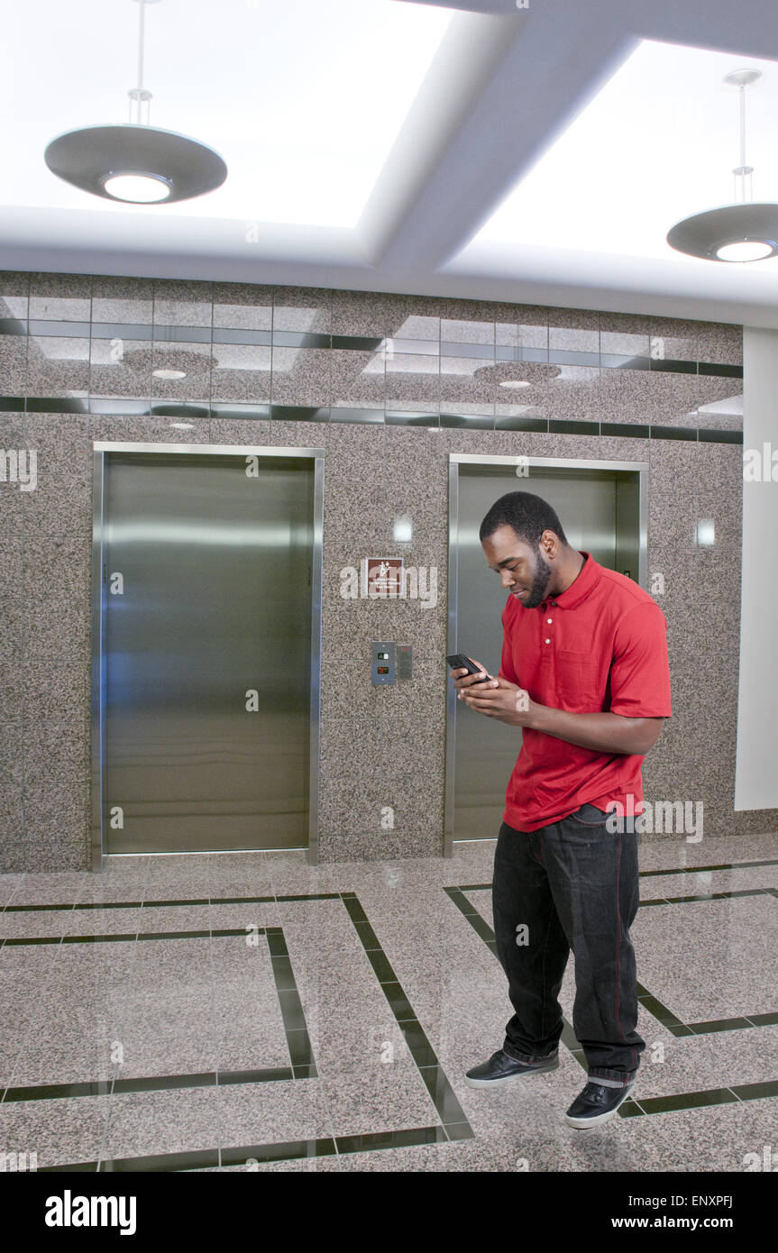 Man Texting - Stock Image