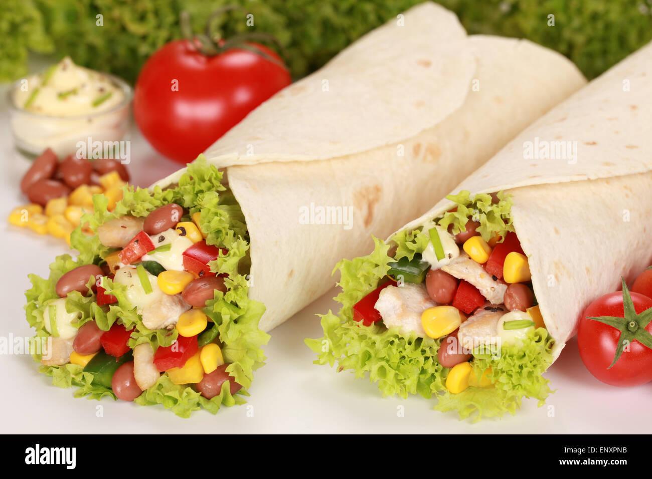 Chicken Wraps - Stock Image
