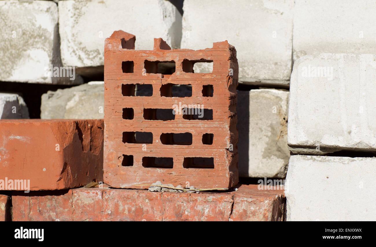 folded into the masonry old red bricks - Stock Image