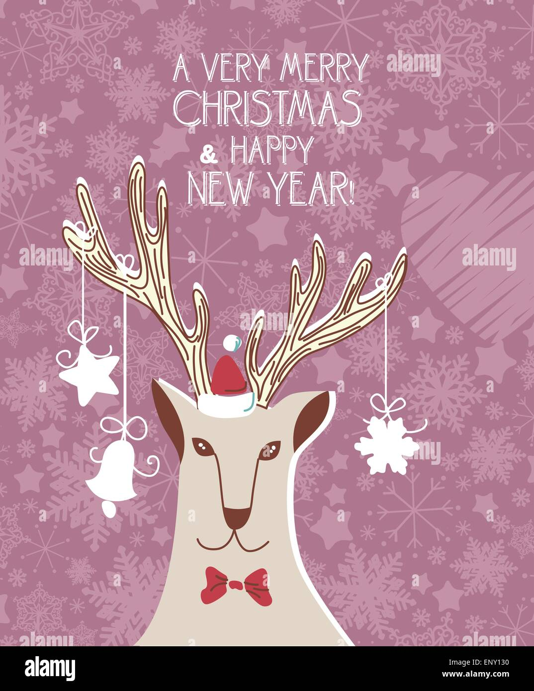 Vintage christmas card with hipster deer and snowflakes. Poster ...