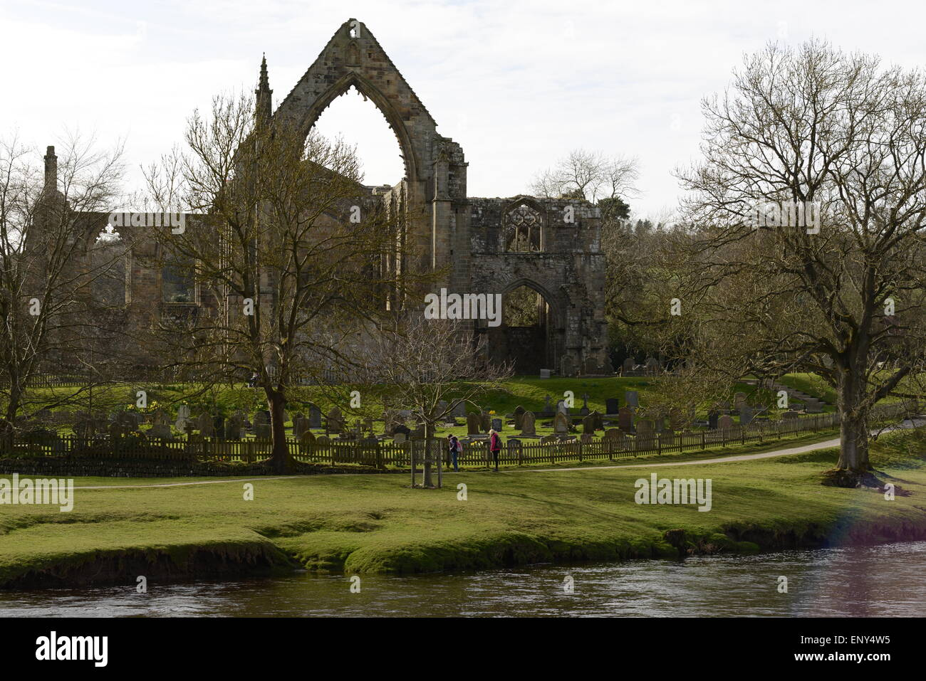 Delightful view of the abbey (Bolton) on a warm spring morning - Stock Image