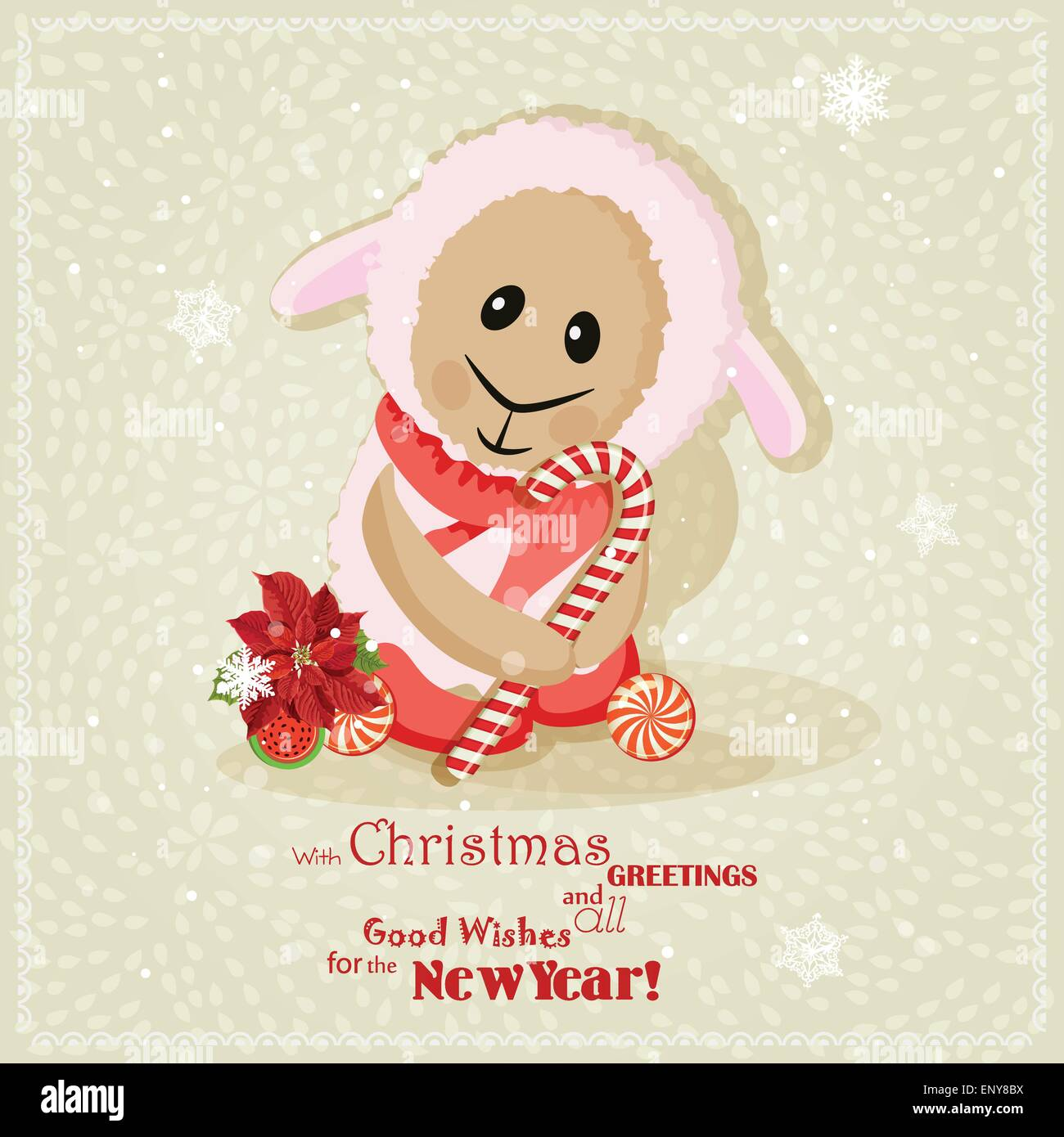 new year card with cute sheep chinese goat vector illustration