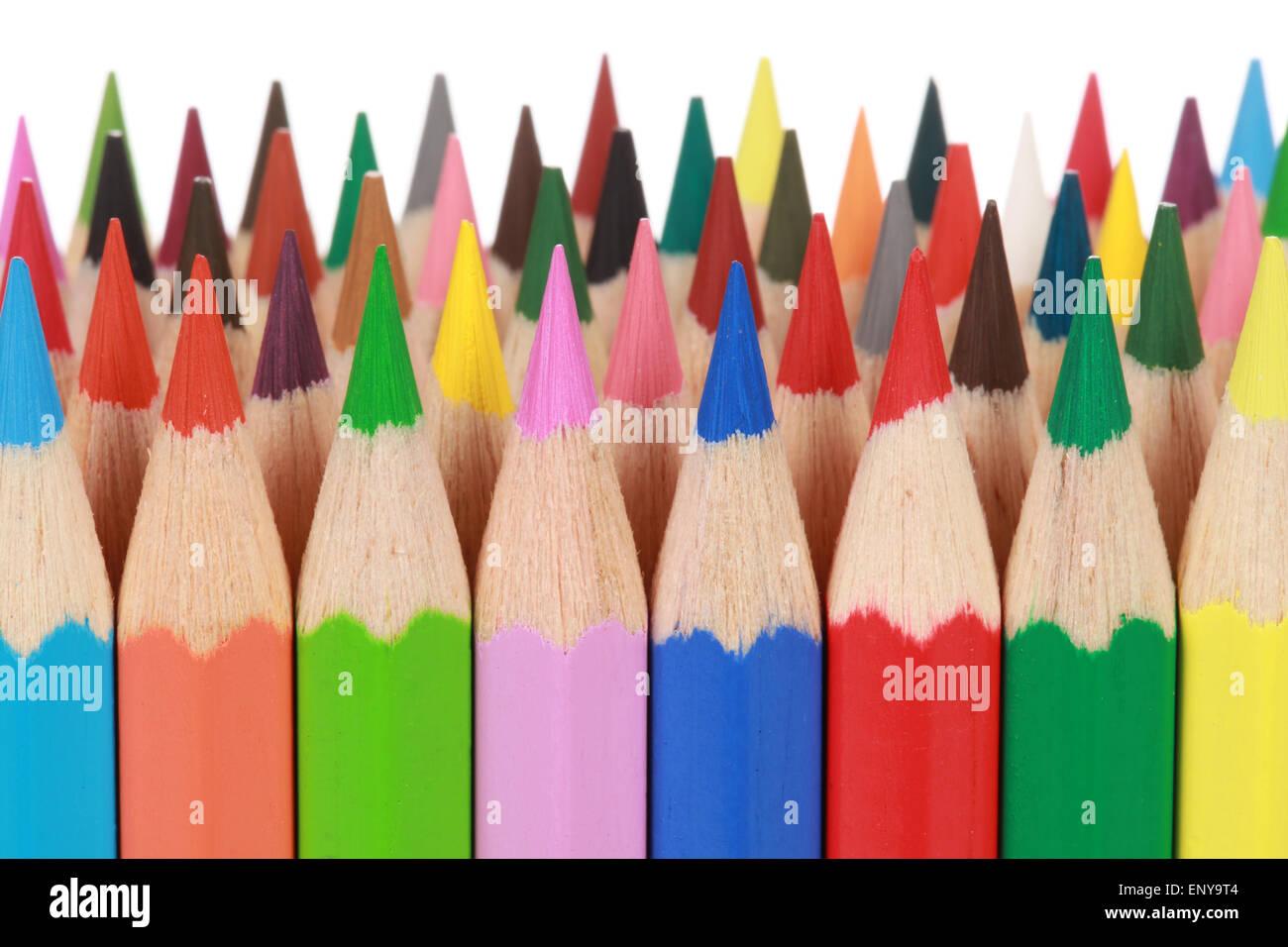 Köpfe von bunten Farbstiften Stock Photo