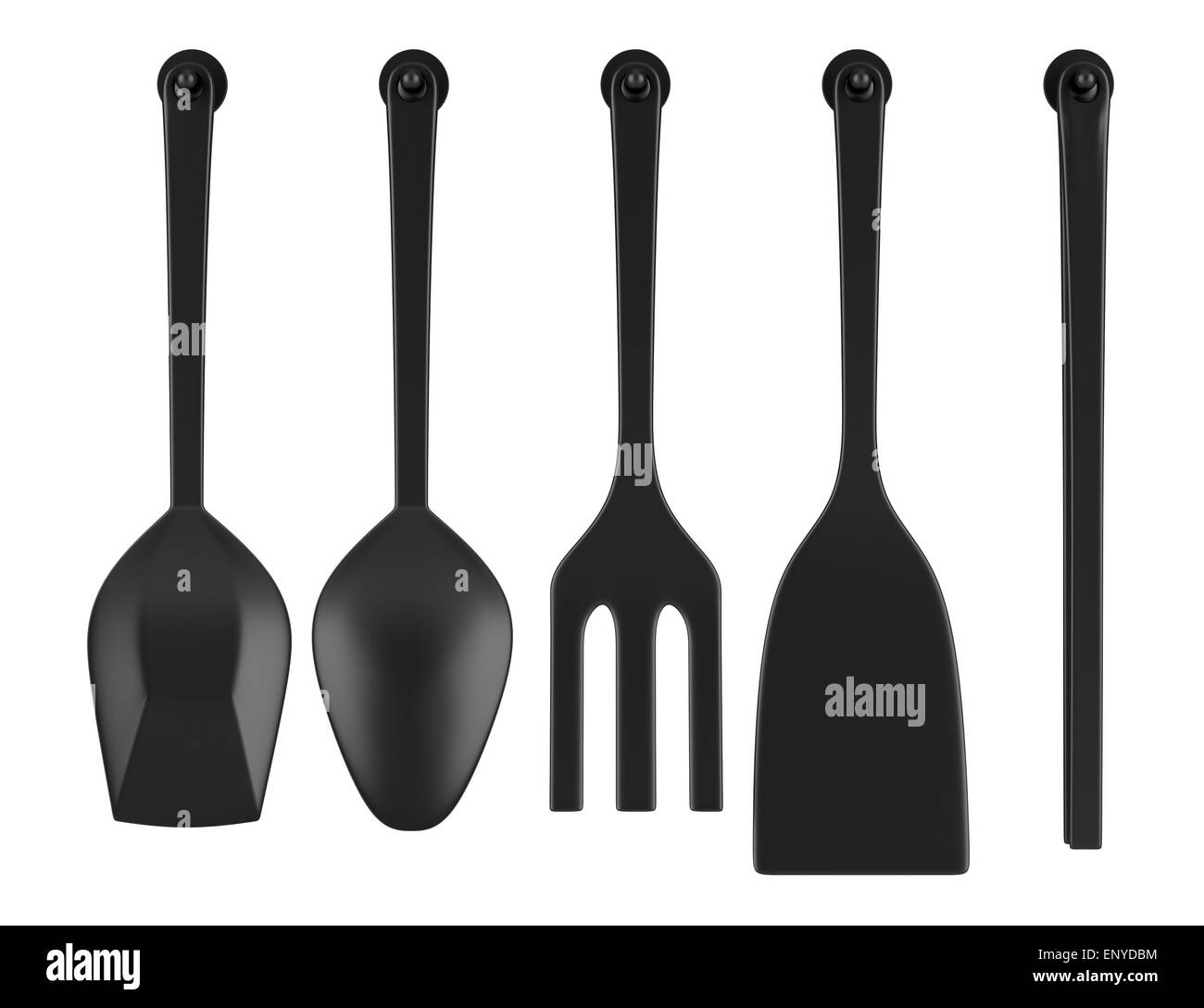 set of five kitchen utensils isolated on white - Stock Image