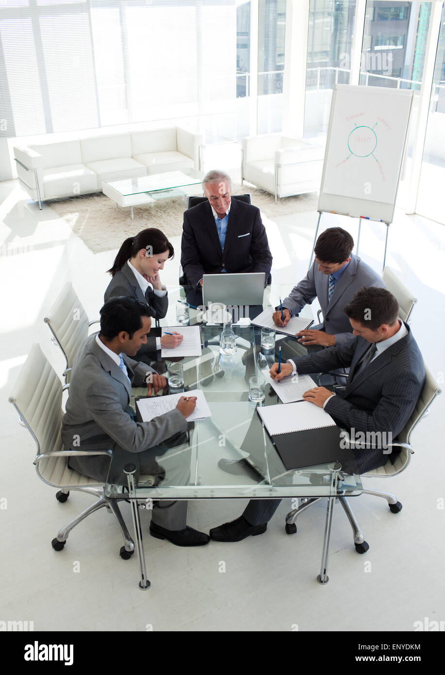Multi-ethnic business team working together - Stock Image