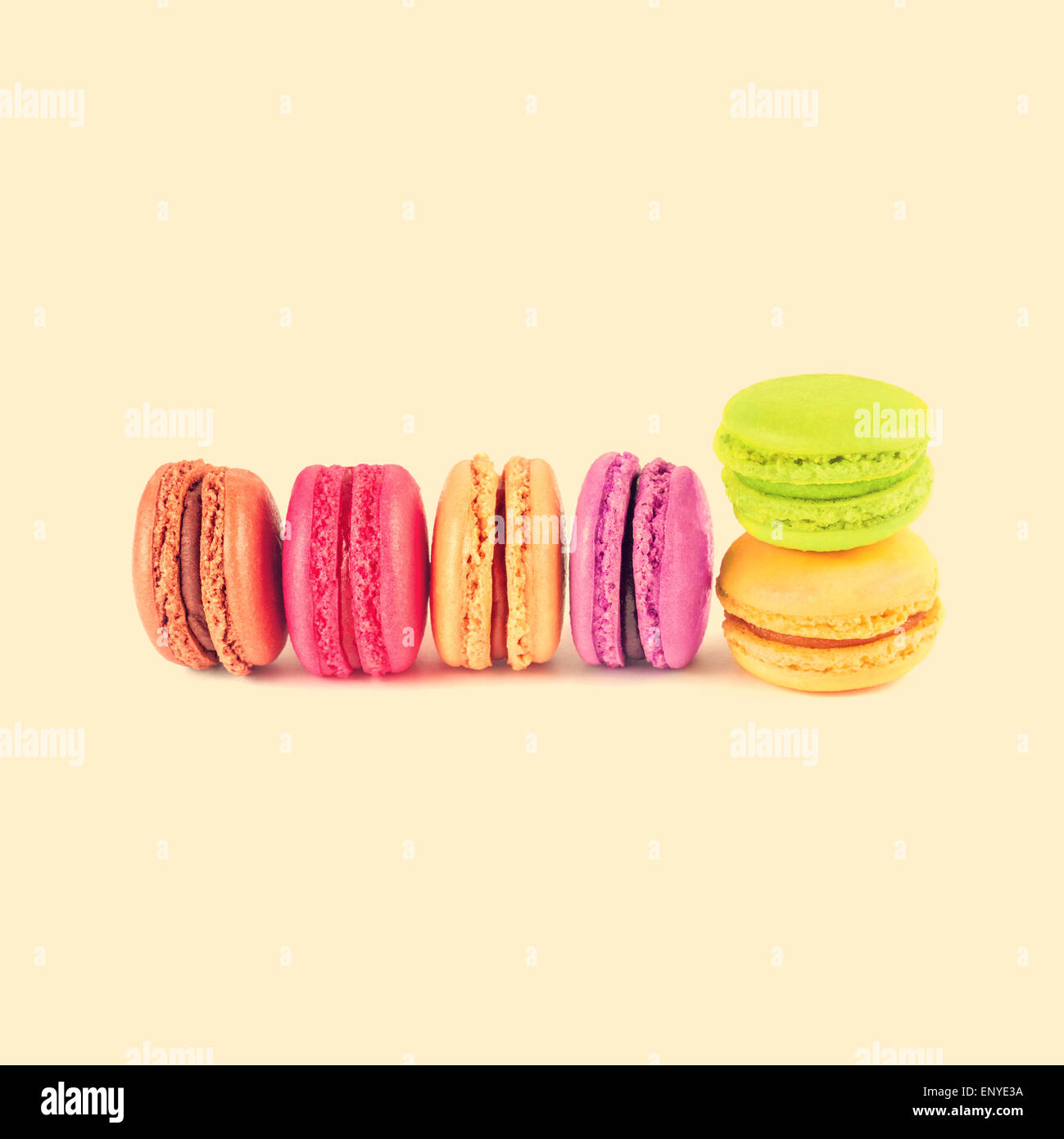colorful macarons, vintage background Stock Photo
