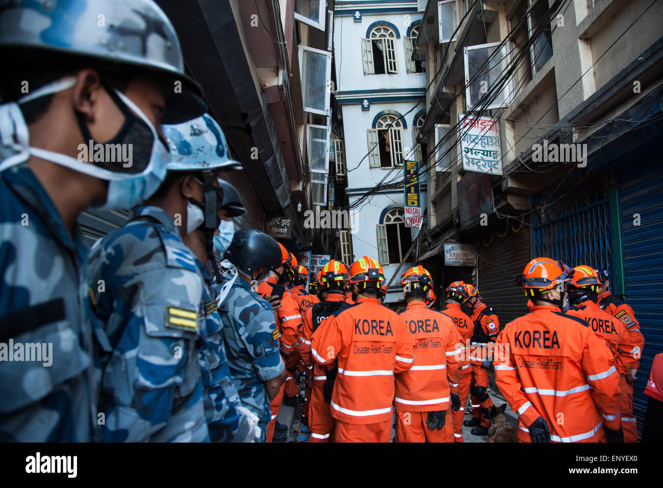 Korean disaster team performing an operation in goganbu Nepal. - Stock Image