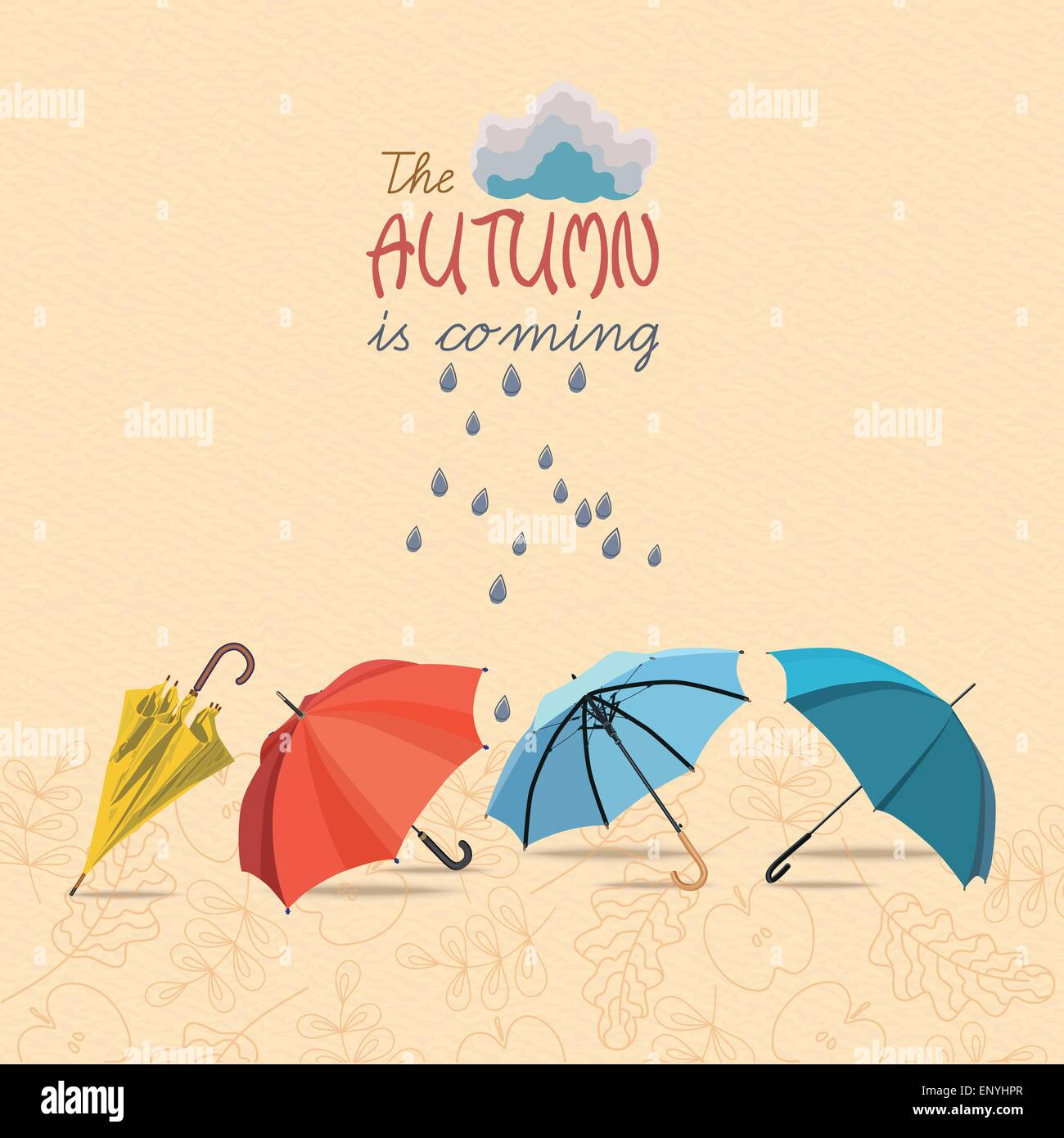 Vector Autumn Doodles Card. Hand Draw Umbrellas And Leafs Over Watercolor  Paper. Lettering Quote. Season Of The Rain