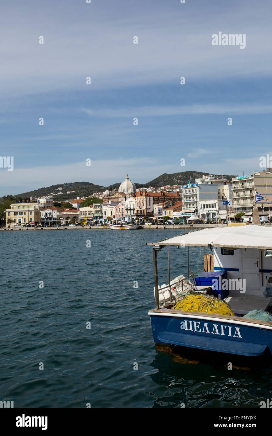 The city of Mytilene as seen from the port, in Lesvos island, Greece. - Stock Image