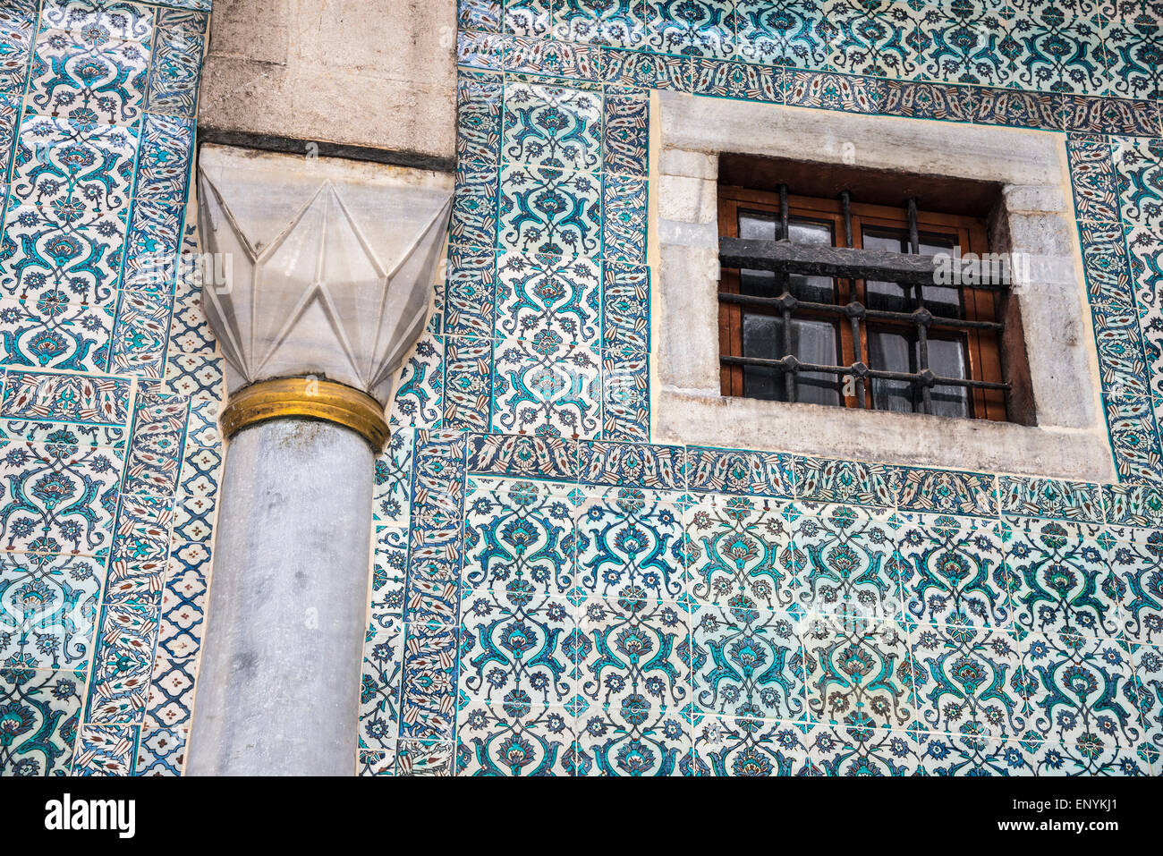 17th cen. Iznik tiles decorating a wall in The Courtyard of the ...
