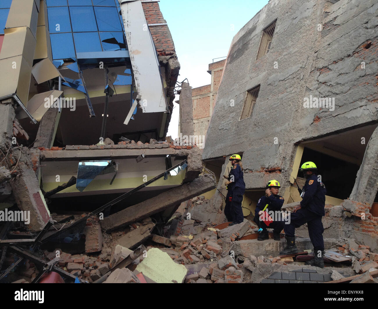 Kathmandu, Nepal. 12th May, 2015. A fresh earthquake has occurred in Nepal. Photo shows American rescuers today Stock Photo