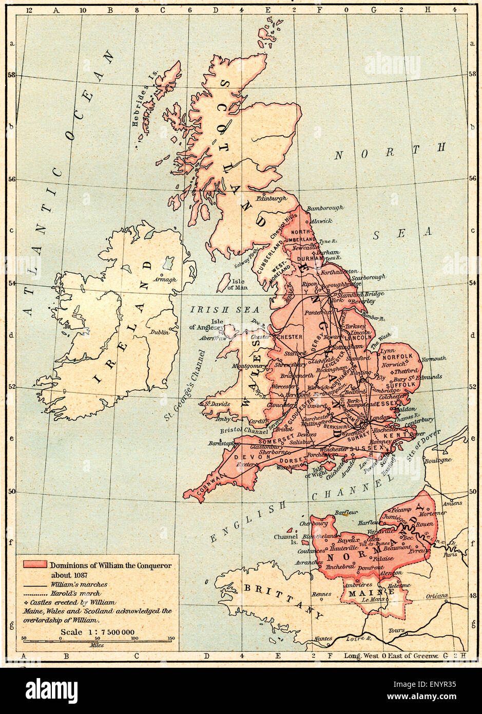 Map of Great Britain showing the dominions