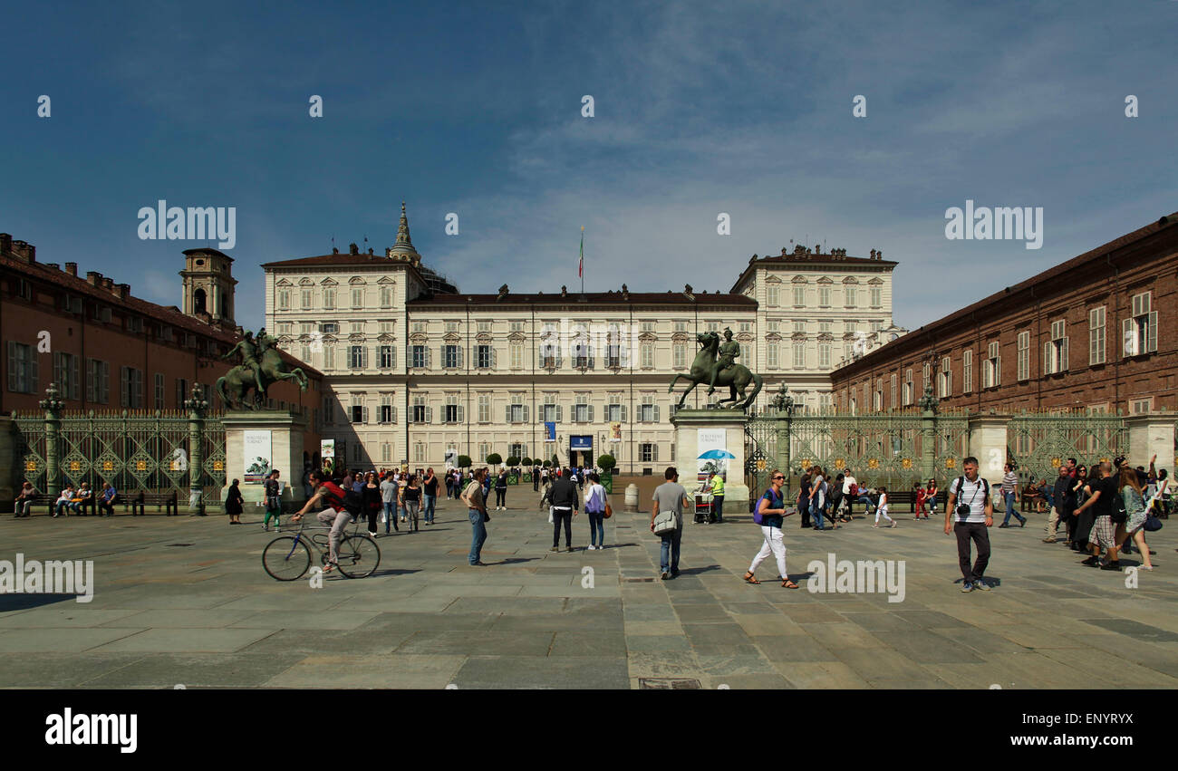 Wide shot of the Royal Palace (Palazzo Reale) Turin - Stock Image