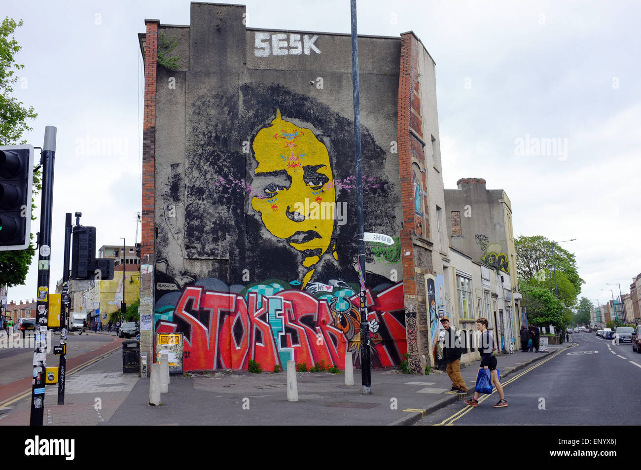 A wall painting in Stokes Croft in Bristol. - Stock Image