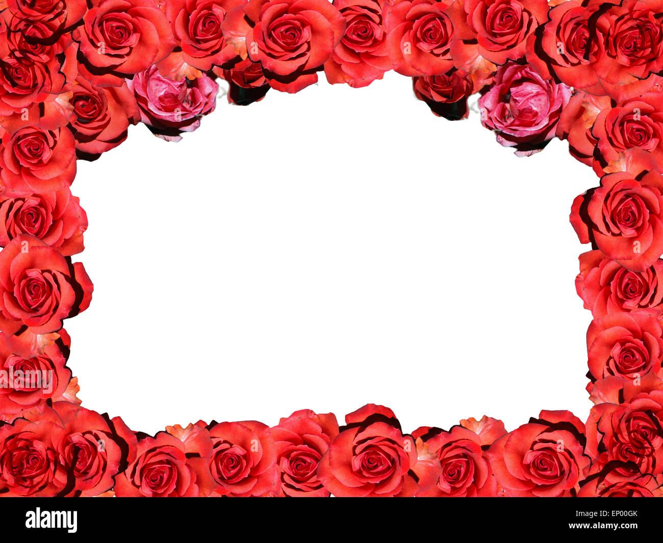 Rahmen: Rote Rosen - Symbolbild Liebe/ Valentinstag/ frame: red rose ...