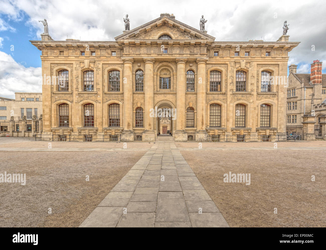 View on the Clarendon Building, an early 18th-century neoclassical building of the University of Oxford, England, Stock Photo
