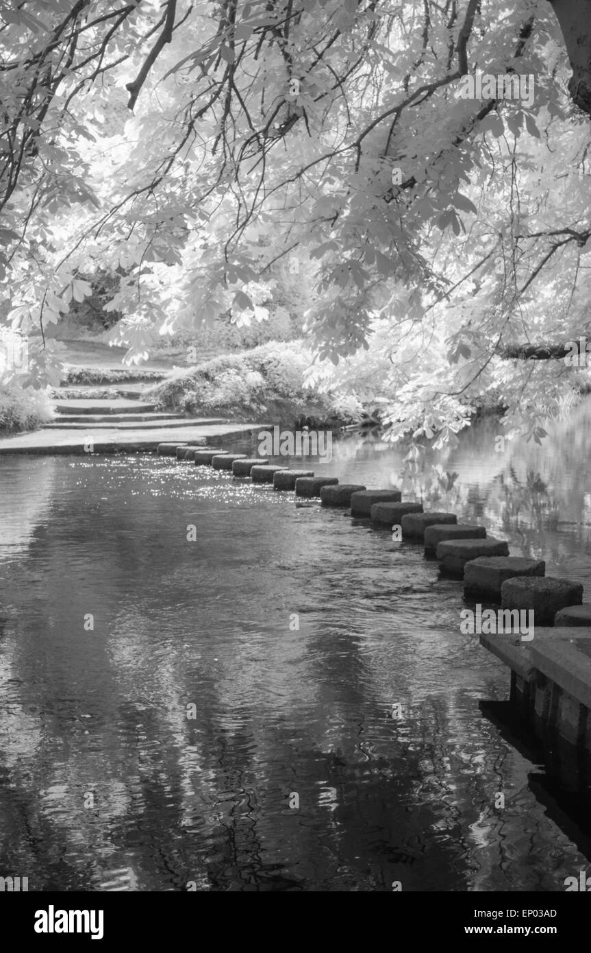 Stepping Stones over River Mole, Surrey, England. Infra-red image - Stock Image