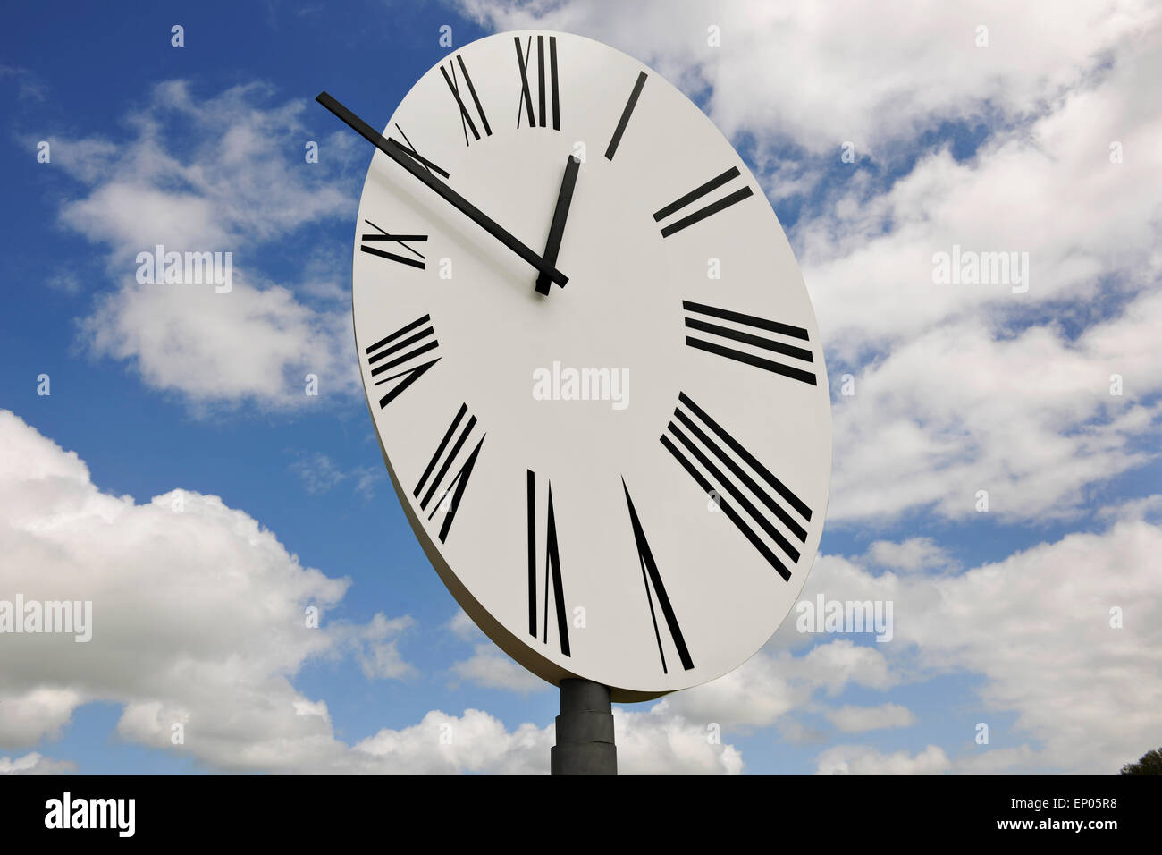 Anri Sala giant oblique clock, Clocked Perspective at Hauser & Wirth art gallery, Bruton, Somerset, UK - Stock Image