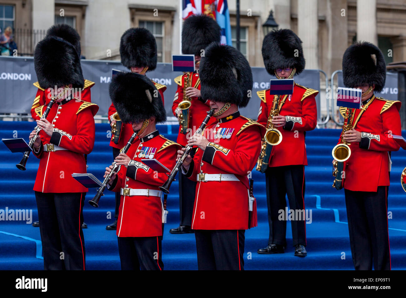 The Band Of The Grenadier Guards Perform In Trafalgar Square On The 70th Anniversary Of VE Day, London, England Stock Photo