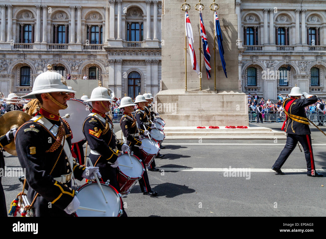 The Band Of Her Majesties Royal Marines March Past The Cenotaph War Memorial On The 70th Anniversary Of VE Day, Stock Photo