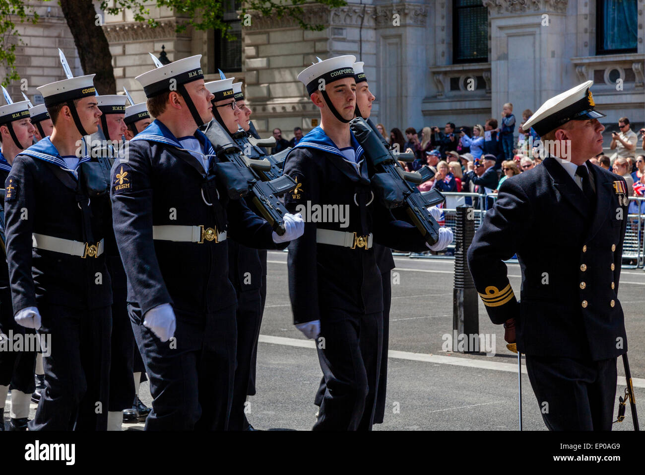 A Service Attachment Of The Royal Navy March Past The Cenotaph War Memorial On The 70th Anniversary Of VE Day, London, - Stock Image