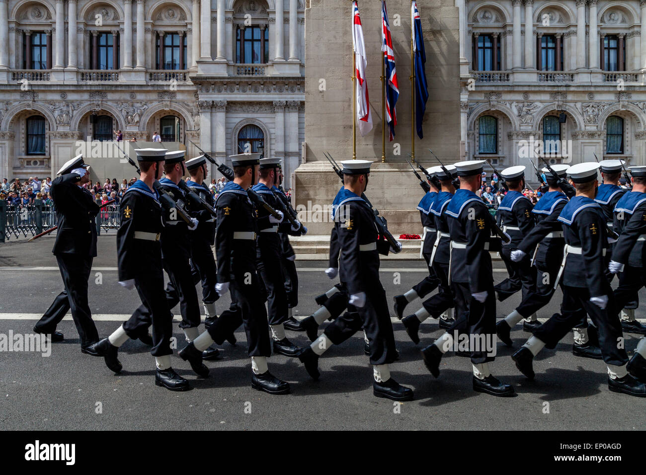 A Service Attachment Of The Royal Navy March Past The Cenotaph As Part Of The 70th Anniversary of VE Day, London, - Stock Image