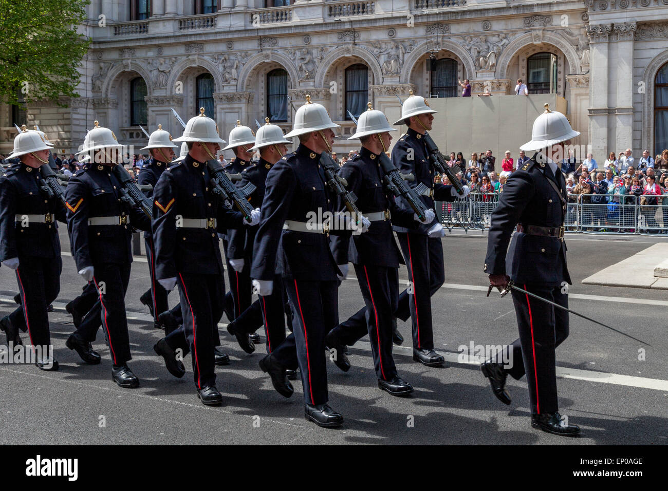 A Service Attachment Of The Royal Marines March Past The Cenotaph As Part Of The 70th Anniversary of VE Day, London, - Stock Image