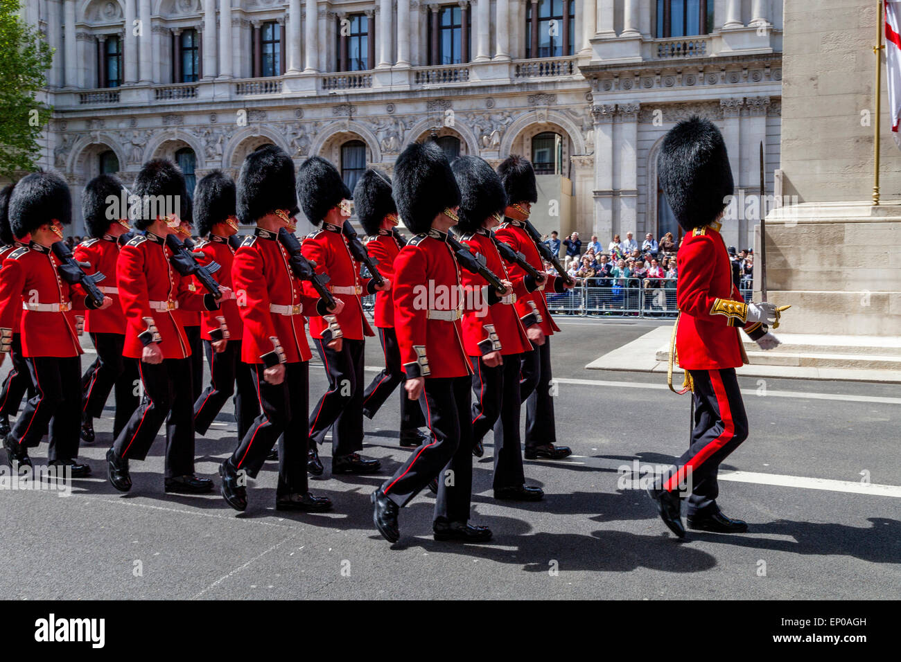 The Scots Guards March Past The Cenotaph In Whitehall As Part Of The 70th Anniversary Celebrations of VE Day, London, - Stock Image