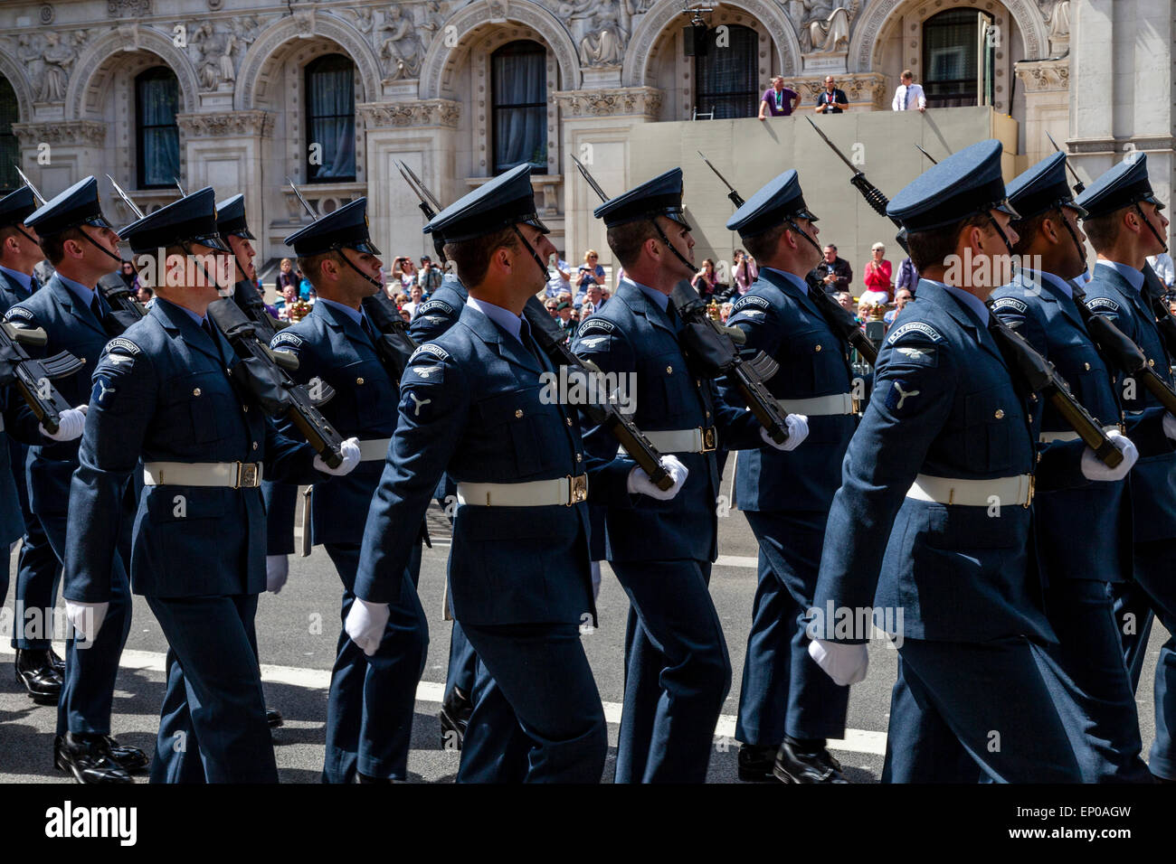 A Service Attachment Of The Royal Air Force March Past The Cenotaph As Part Of The 70th Anniversary of VE Day, London, - Stock Image