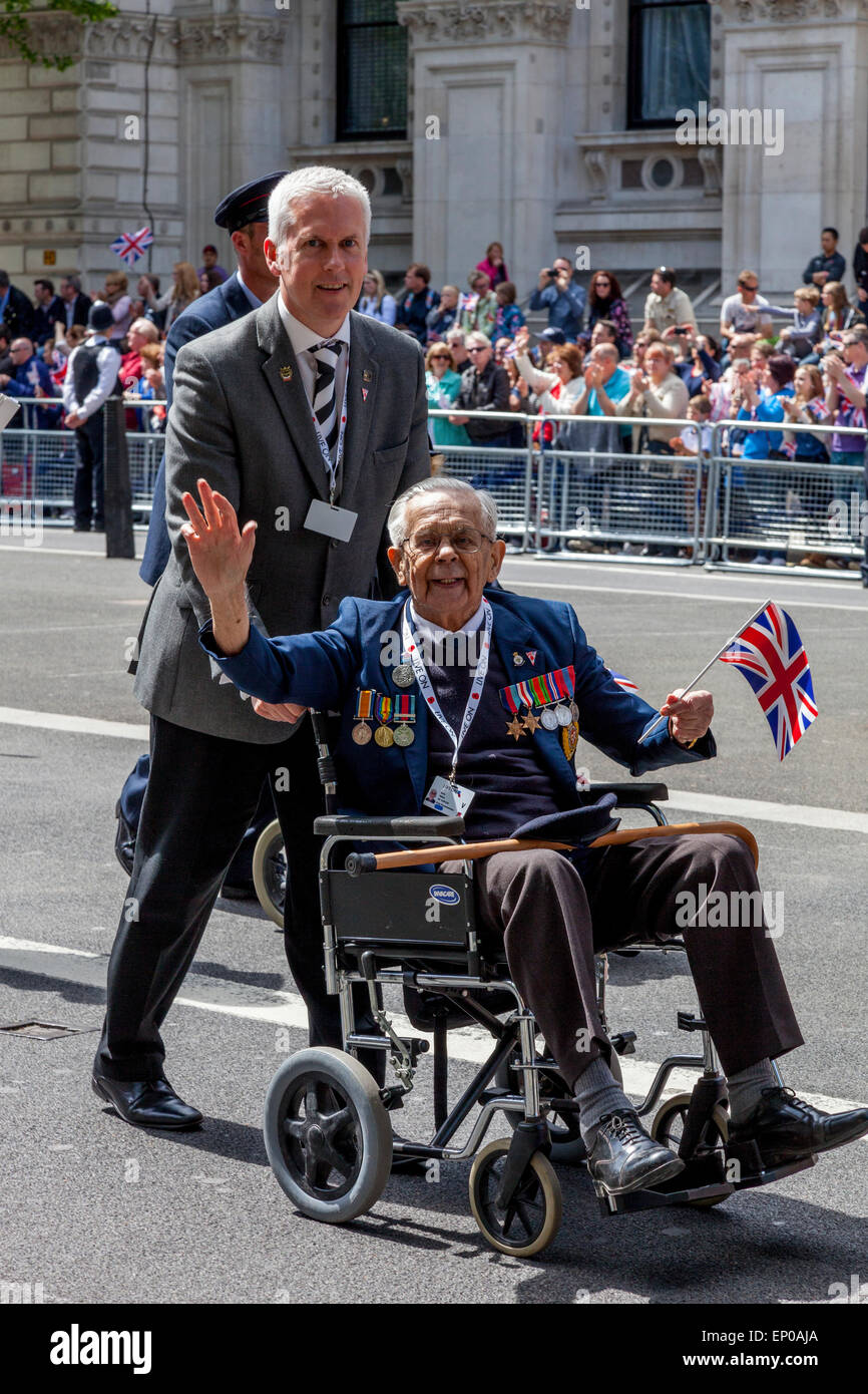 A British Army War Veterans Parade Passes The Cenotaph As Part Of The 70th Anniversary Celebrations of VE day, London, - Stock Image