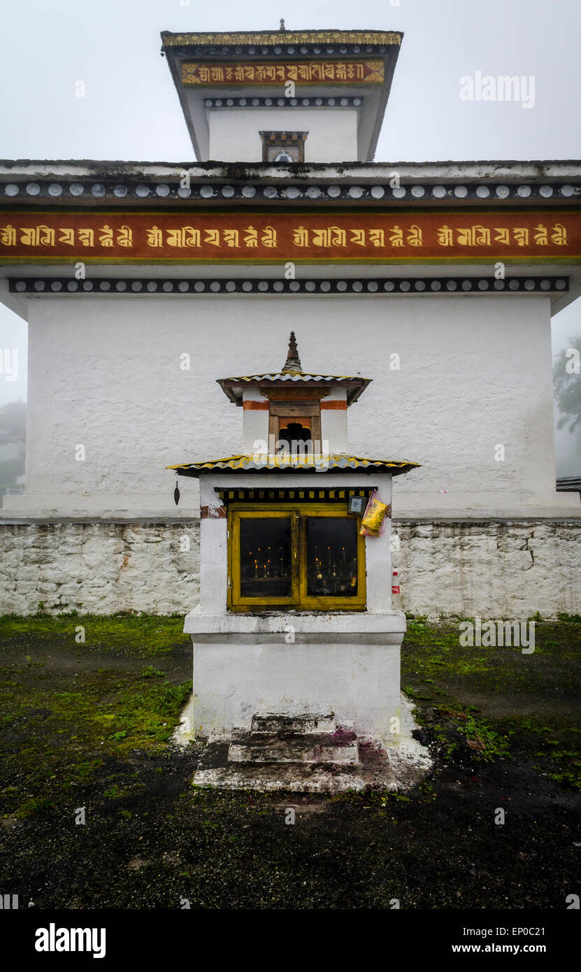 Chortens of the memorial of the 108 Druk Wangyal Khangzang Chortens on the Dochula pass betweeen Thimphu and Punakha, - Stock Image