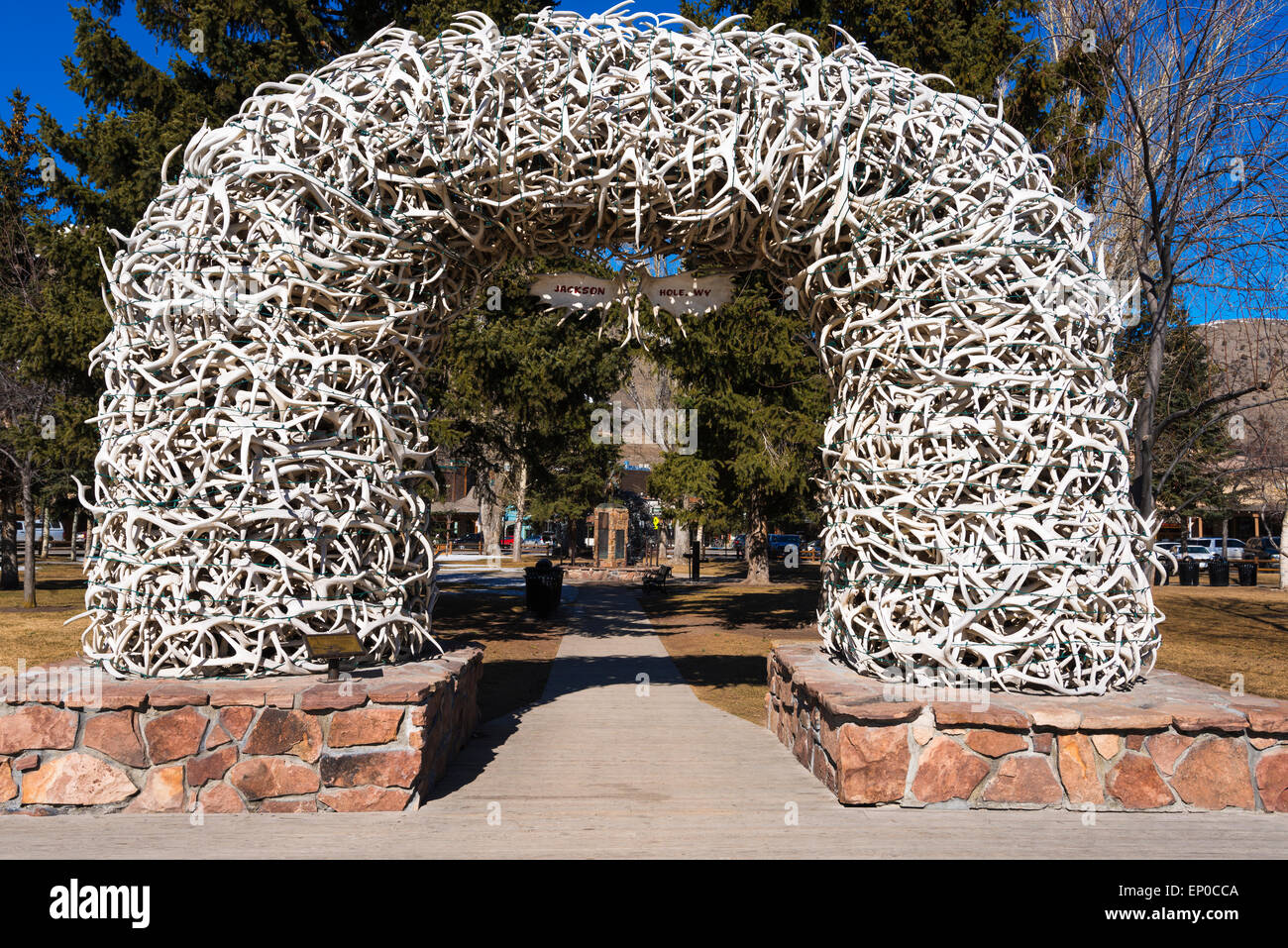 elk antler arch in the town square jackson hole wyoming usa stock