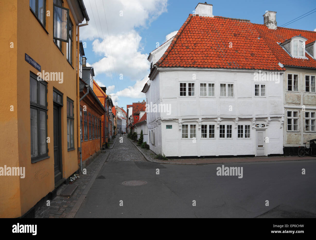 Skyttenstræde, one of the old lanes in Elsinore oozing of old harbour district and seamanship. Oldest half - Stock Image