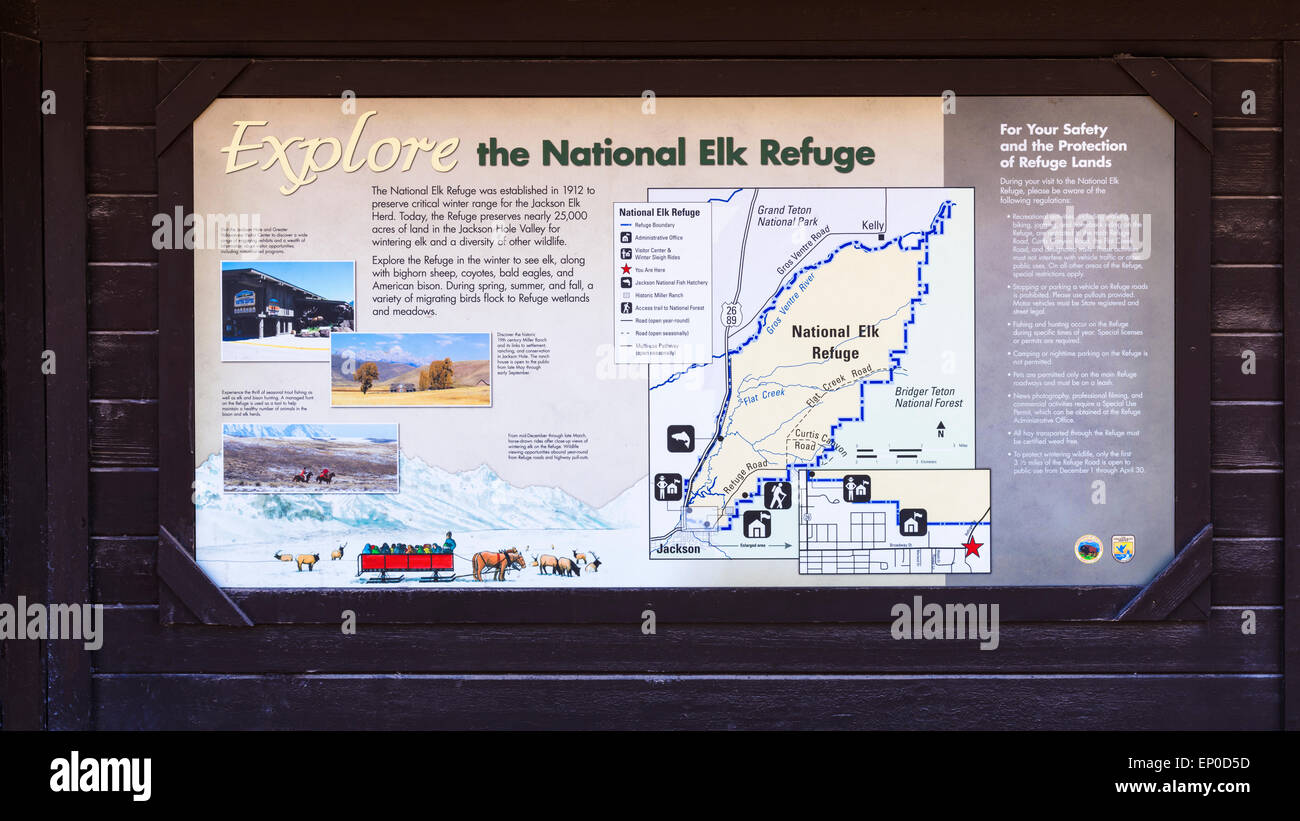 Map of the National Elk Refuge, Jackson Hole, Wyoming USA Stock ...