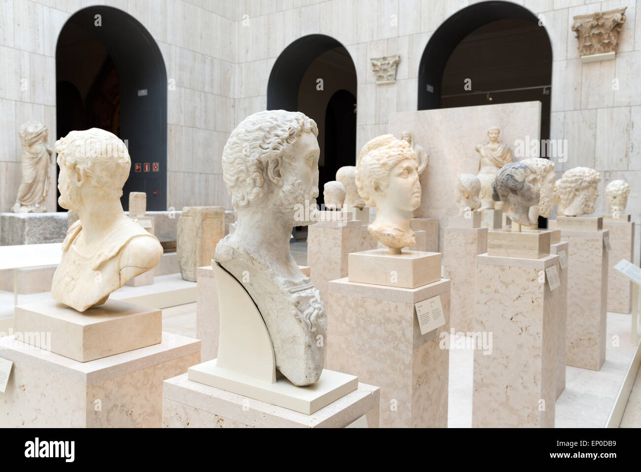 Ancient marble busts of Roman emperors in the National Archaeological Museum of Spain, Madrid Stock Photo