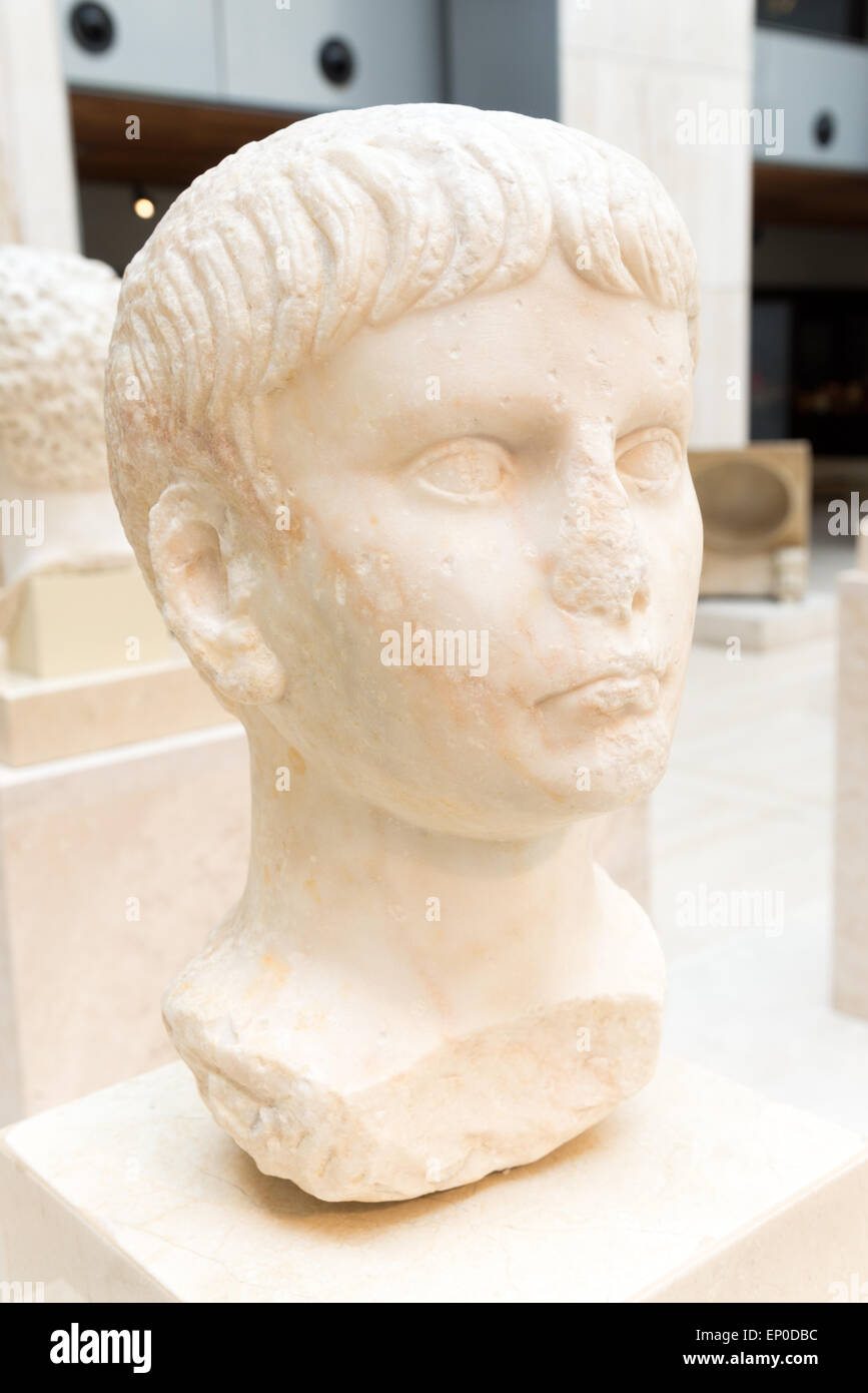 Ancient marble bust of Roman Emperor Nero in the National Archaeological Museum of Spain, Madrid - Stock Image