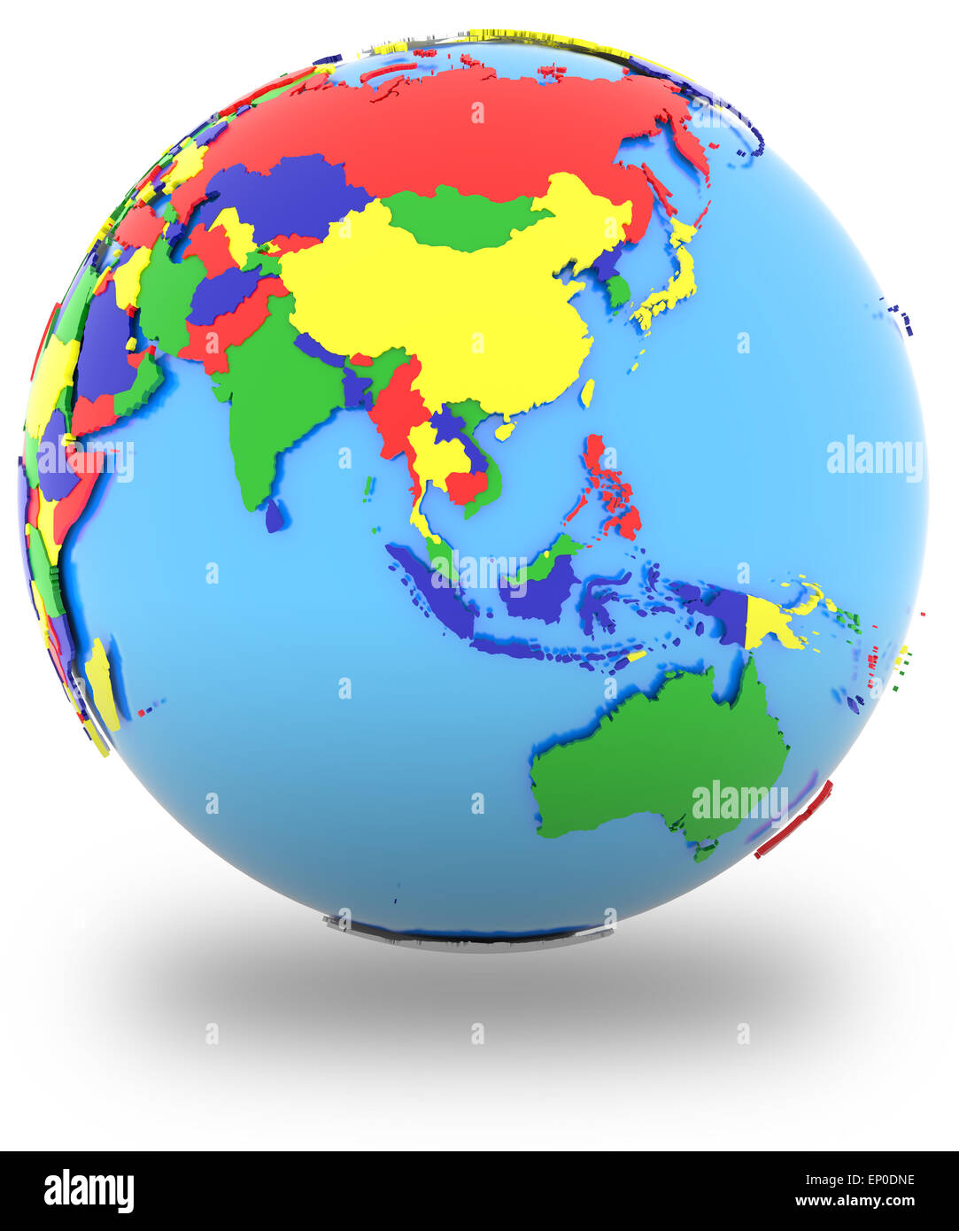 Southeast Asia, political map of the world with countries in four ...