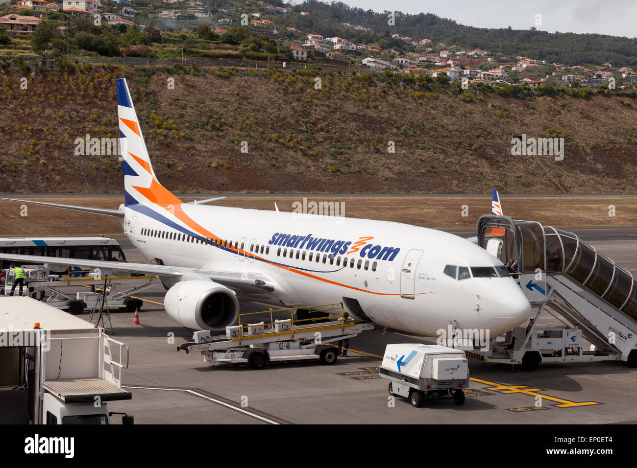 A Smartwings Boeing 737-800 plane at the gate, Funchal airport, Madeira, Europe - Stock Image
