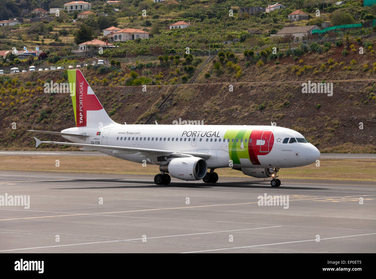 A TAP Portugal Airbus A319 airplane taxiing at Funchal airport, Madeira, Europe - Stock Image