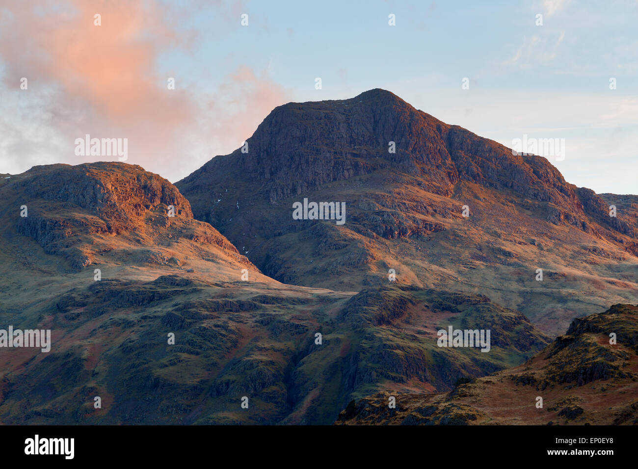 Pike of Stickle sidelit by soft morning light, ENglish lake District - Stock Image