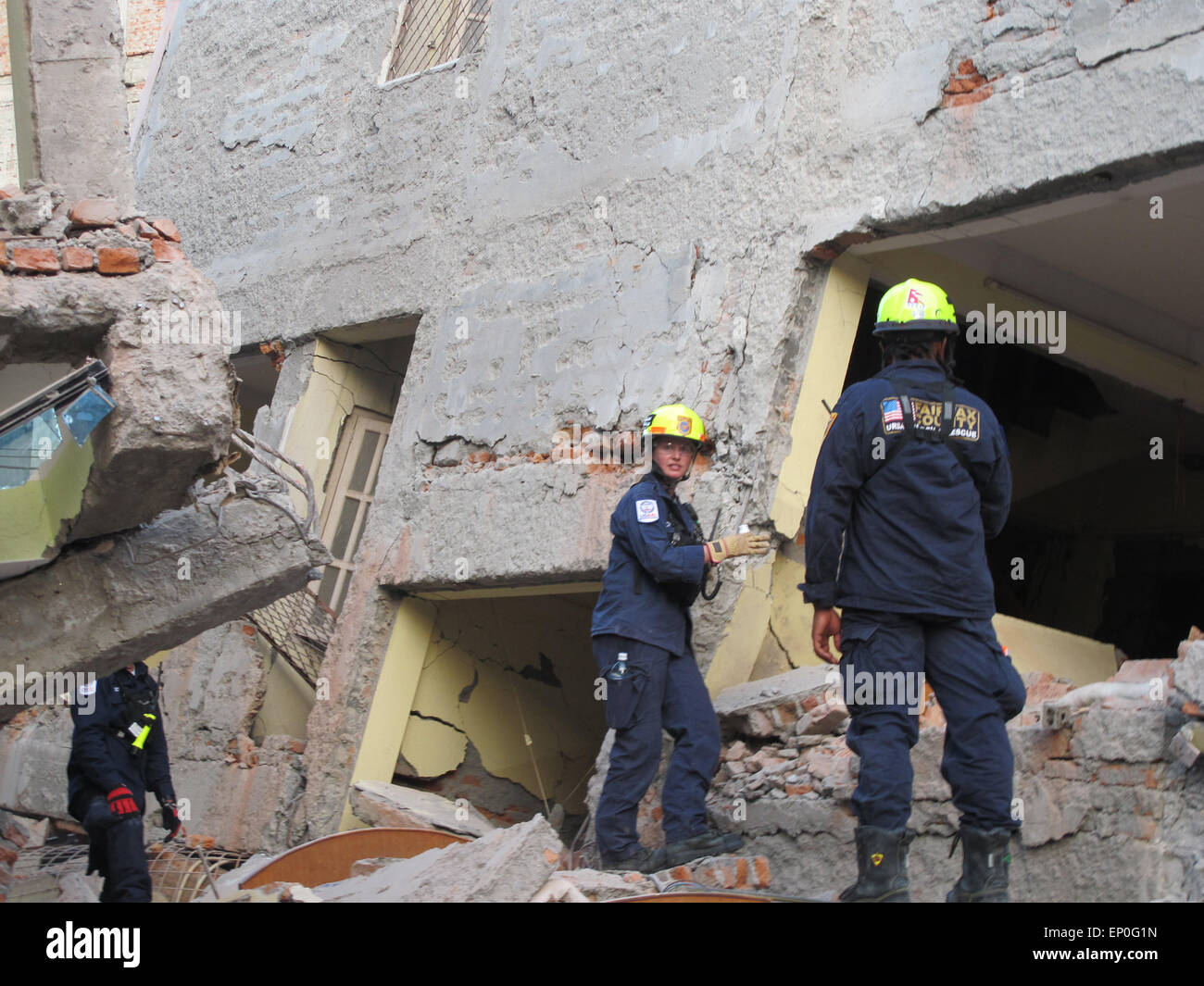 Kathmandu, Nepal. 12th May 2015. A fresh earthquake has occurred in Nepal. Photo shows American Rescuers today in - Stock Image