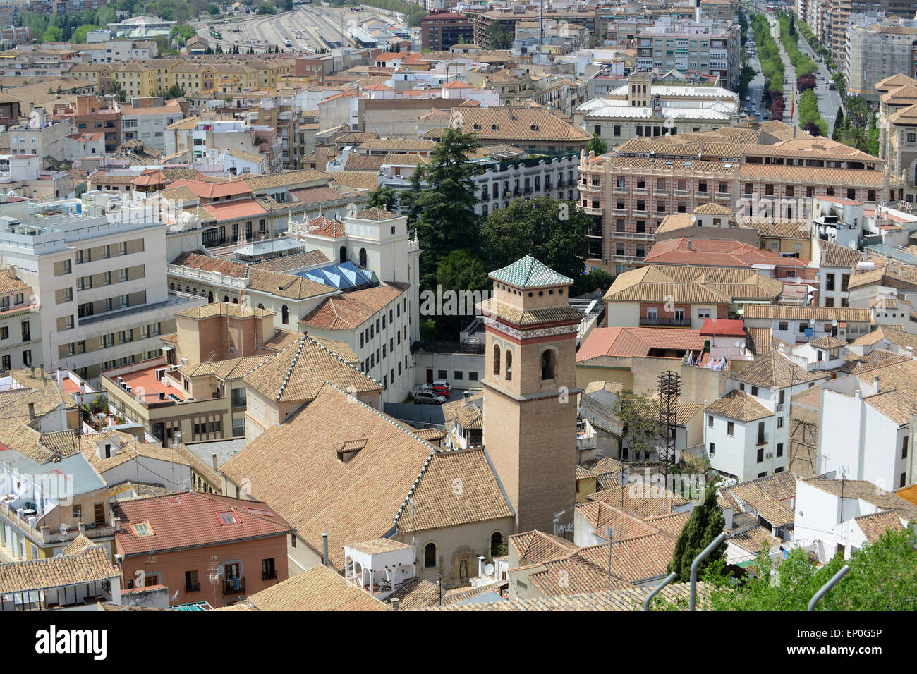 Residential area house houses apartments rooftops Granada Spain - Stock Image