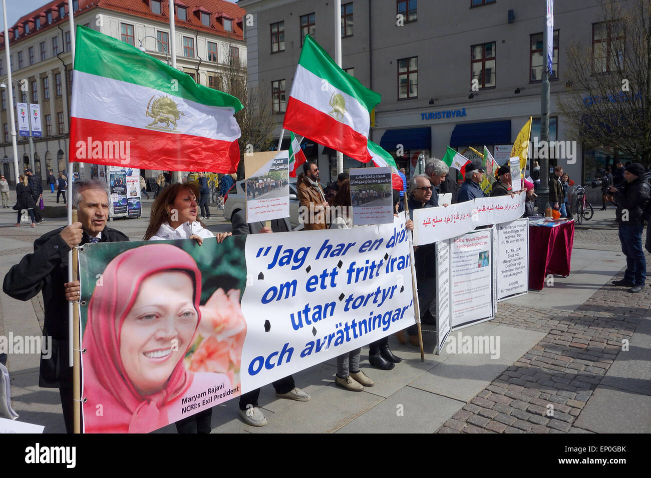 Iranians in exile protest against Iranian government at Kungsportsplatsen square in Gothenburg, Sweden - Stock Image
